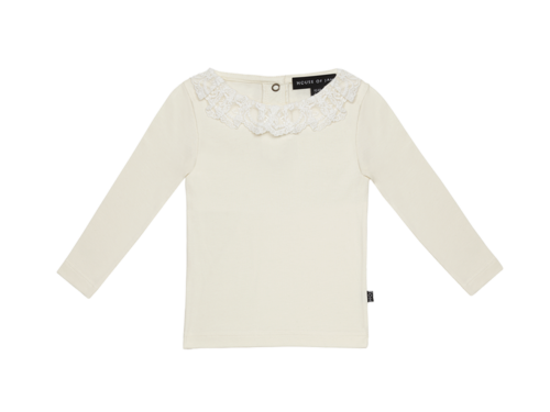 Lace Collar Tee (ls) - Cream & Lace